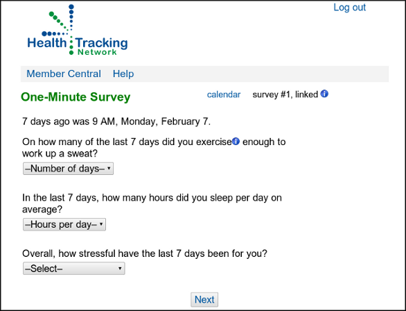 screenshot of a One-Minute Survey